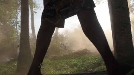 Legs-Walking-Past-Dust-Cloud-in-a-Forest