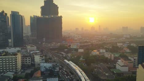 Bangkok-Train-From-Above-at-Sunset