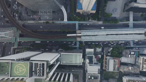Aerial-View-of-Train-at-Station-Sathorn