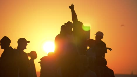 Silhouetted-Group-of-People-in-LA-Sunset